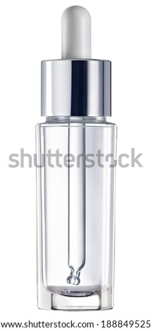 glass phial with dropper isolated on white. - stock photo