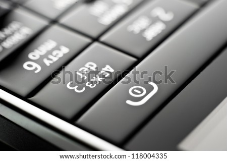 Glass phone button close up - stock photo