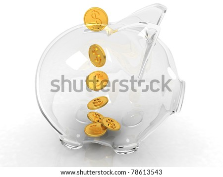 glass piggy bank and falling coins on white background - stock photo