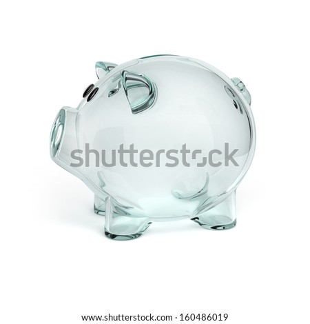 glass piggy bank isolated on white background - stock photo