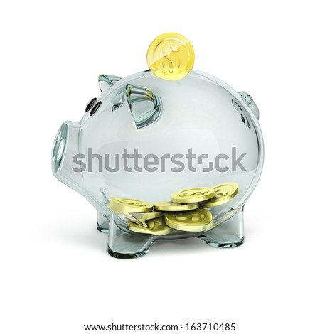 glass piggy bank with golden coins - stock photo