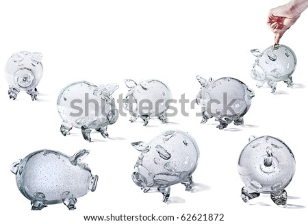 Glass Piggy Banks, group of objects, isolated on white background. - stock photo