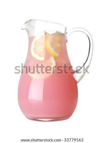 Glass pitcher of pink lemonade with lemon wedges on white background - stock photo
