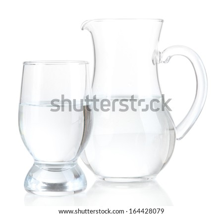 Glass pitcher of water and glass isolated on white - stock photo