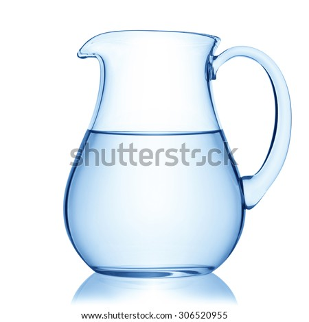 Glass pitcher of water, isolated on the white background, clipping path included. - stock photo