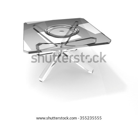 glass plate on square glass table - stock photo