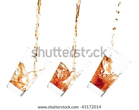 Glass pouring with a splashing cola - sequence set of 3 shots - isolated on white - stock photo