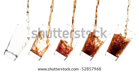 Glass pouring with a splashing cola - sequence set of 5 shots - isolated on white - stock photo