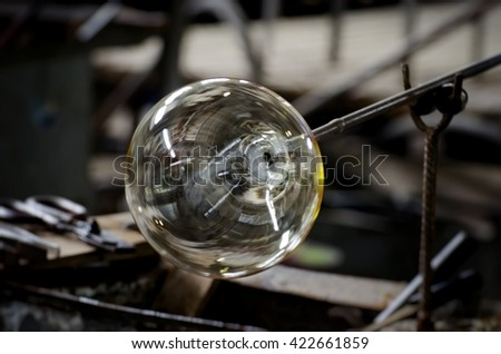 Glass Production Industry Background  - stock photo