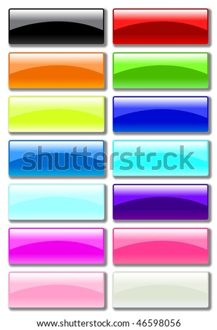 glass rectangular buttons (jpg has work path included) - stock photo