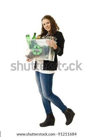 Glass Recycling Woman isolated on white background - stock photo