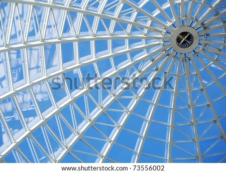 Glass roof and windows in modern office building