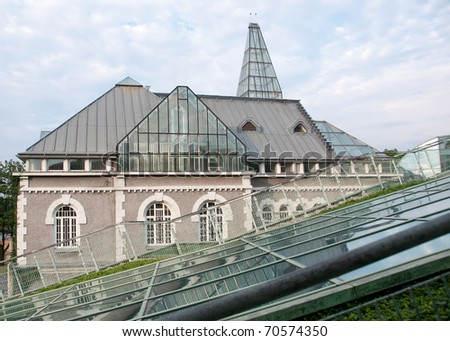Glass roof garden entrance on top of University of Warsaw library, Poland