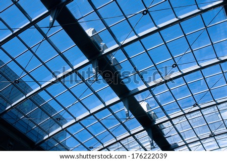 Glass roof of an office building in modern architecture.