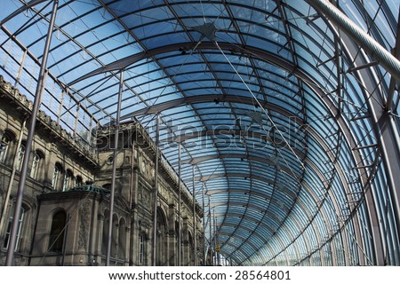 glass roof of Strasbourg's railway station building