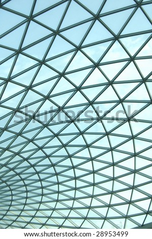 Glass roof on the atrium of the British Museum in London, England