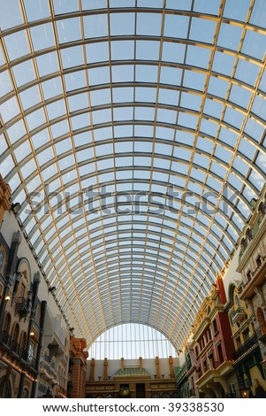 Glass roof structure in west edmonton mall ( the largest indoor shopping mall in north america), edmonton, alberta, canada
