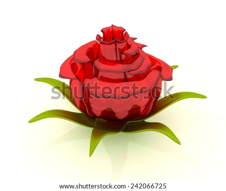Glass rose flower on the white background - stock photo