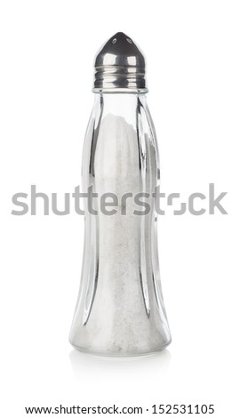 Glass salt-shaker isolated on a white background - stock photo