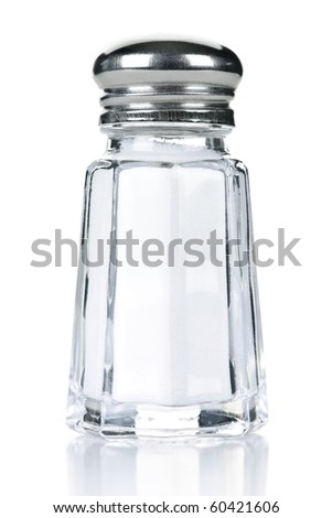 Glass salt shaker isolated on white background - stock photo