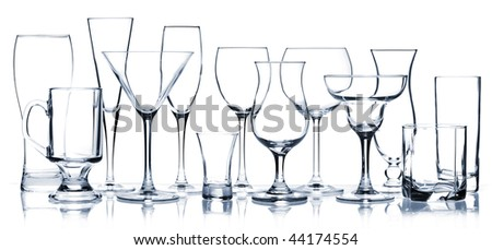 Glass series - All Cocktail Glasses isolated on white - stock photo