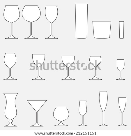 Glass set. Stemware for a different drinks: beer, wine, cocktails. - stock photo