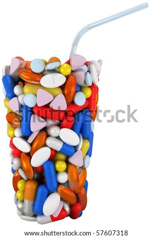 Glass shape assembled of pills with straw. Extralarge resolution. over white - stock photo