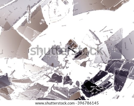 Glass Shattered and broken on white. Large resolution - stock photo