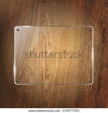 Glass Shelf On Wood Background - stock photo