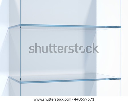 Glass shelves in white studio. 3d rendering - stock photo