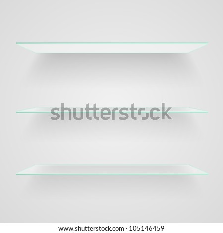 Glass shelves on light grey background. Raster copy of vector illustration - stock photo