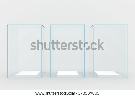 glass showcases. 3d render. isolated on gray background. - stock photo