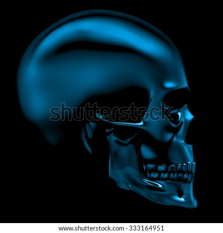 Glass skull / 3D render of glass skull on black - stock photo