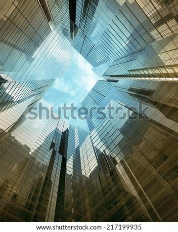glass skyscraper perspective view - stock photo