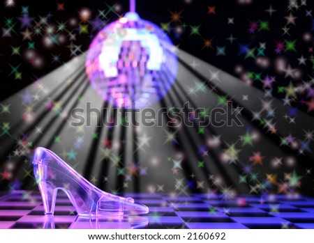 Glass Slipper With Disco Ball in Background,  Shallow DOF - stock photo