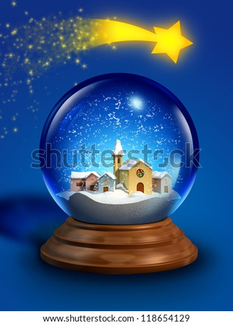 Glass snow ball with a miniature village and a christmas star. Digital illustration. - stock photo