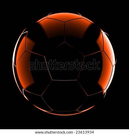 Glass soccer ball on black background - stock photo