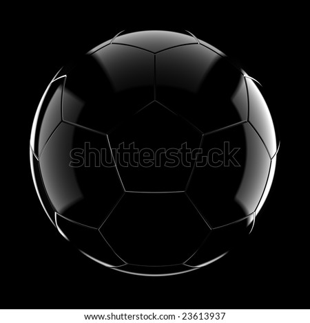 Glass soccer ball on black background - stock photo