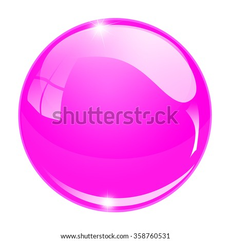 Glass sphere button isolated