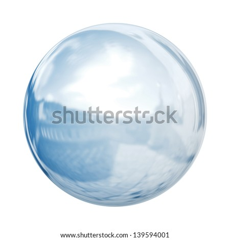 Glass sphere, isolated on white background - stock photo