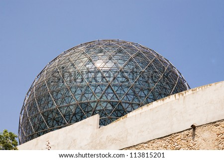 Glass sphere on the Dali museum in Figueras - stock photo