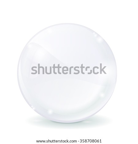 Glass sphere. White transparent glass ball. Raster version. Illustration isolated on white.