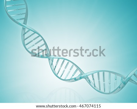 Glass spiral DNA strand. Medical science blue background. 3D illustration for design.
