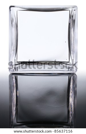 Glass square frame copy-space and mirror image with clipping path - stock photo
