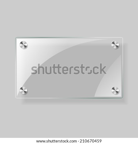 Glass square plane on a grey background - stock photo