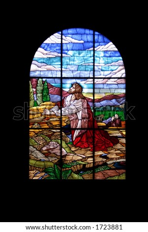 glass stained window in church - stock photo
