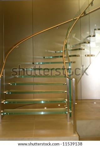 glass stairs - stock photo