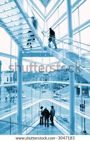 Glass stairway - stock photo