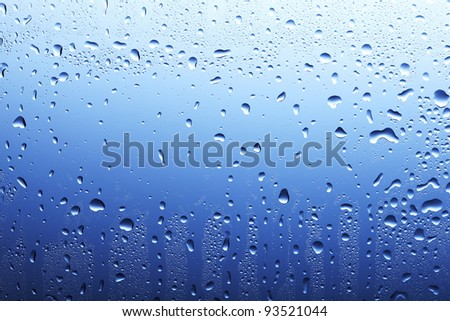 Glass surface with water drops and condensation