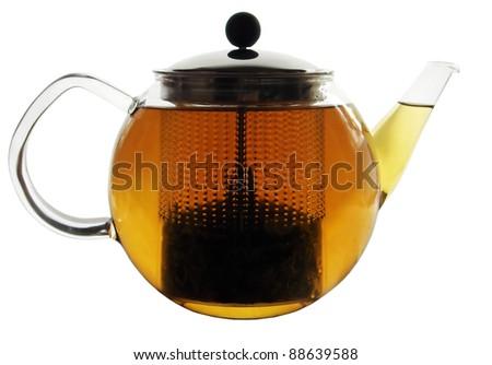 glass tea pot - stock photo